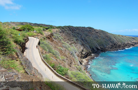 Steep road to Hanauma Bay Beach