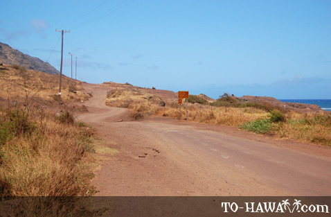 Start of the unpaved road