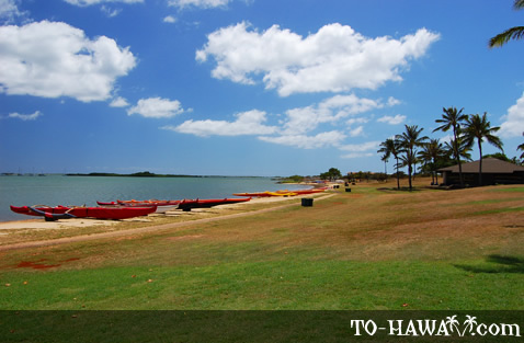 Popular kayaking beach park on Oahu
