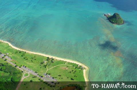 Aerial of Kualoa Park and Chinaman's Hat