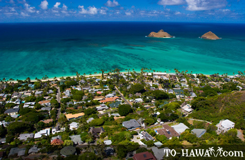 Aerial view of Lanikai