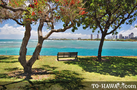 Bench with view to Honolulu