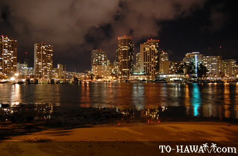 Night view of Waikiki
