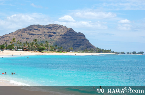 White sand beach on Oahu's west shore