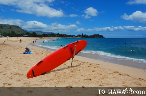 Rescue surfboard on Makaha Beach