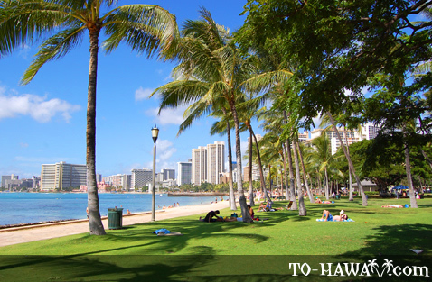 Beachfront park in Waikiki