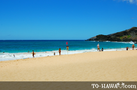 White-sand beach on Oahu