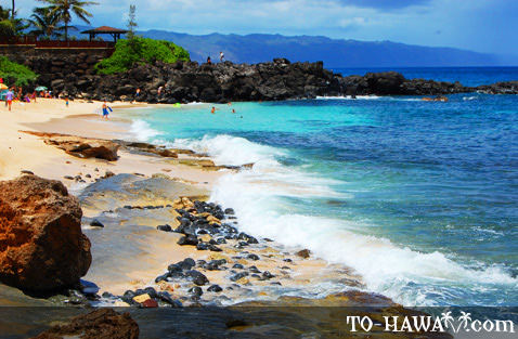 Popular surfing beach on Oahu