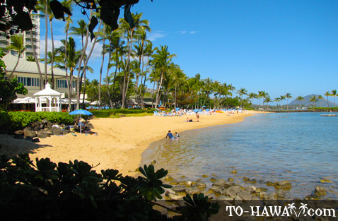 Beach area in front of Kahala Hotel