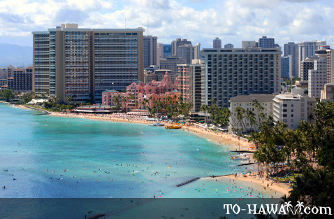 Aerial view of Waikiki Beach