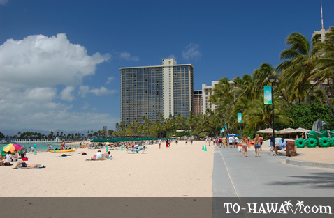Wide stretch of Waikiki Beach