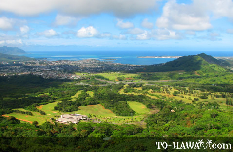 Kane'ohe seen from Pali Lookout