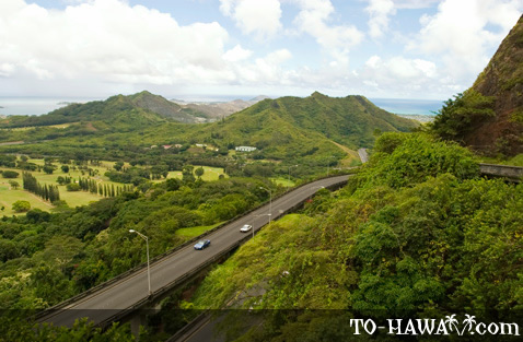 Overlooking the Pali Highway