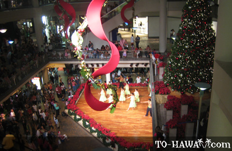 Hula performance in Ala Moana Center