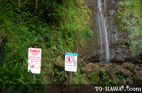 Warning signs at Manoa Waterfall